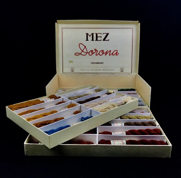 Antique German Shop Display Mez AG Freiburg Sewing Cotton / Thread / Silk Box